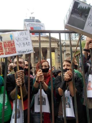 Protestors behind bars in Melbourne
