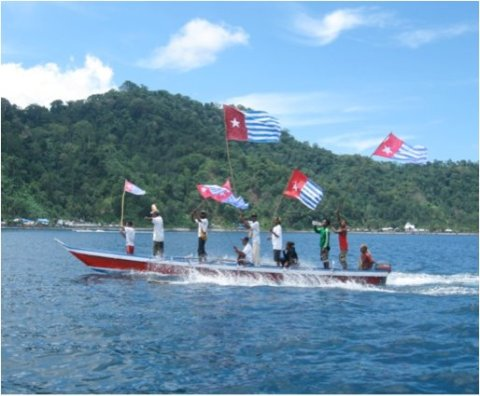 Morning Star flags flown off the coast of West Papua.