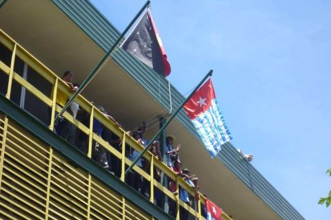 The West Papuan flag is hoisted from the city hall in the capital of Papua New Guinea.