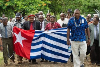 President of the Malvatumauri National Council of Chiefs, Vanuatu, leads the united members of the West Papuan Independence movement to the MSG to submit their application for full membership