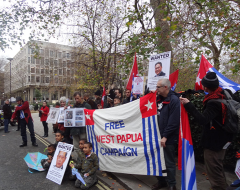 Free West Papua protest outside Indonesian Embassy in London, UK