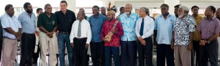 West Papuan independence leader Benny Wenda at the Vanuatu parliament, with Edward Natapei to his left