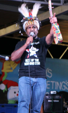 West Papuan indeoendence leader Benny Wenda at a Free West Papua Concetr in Port Moresby, Papua New Guinea