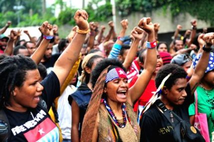 West Papuan students demonstrating in Jakarta